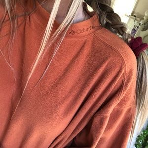 orange columbia fleece long sleeve